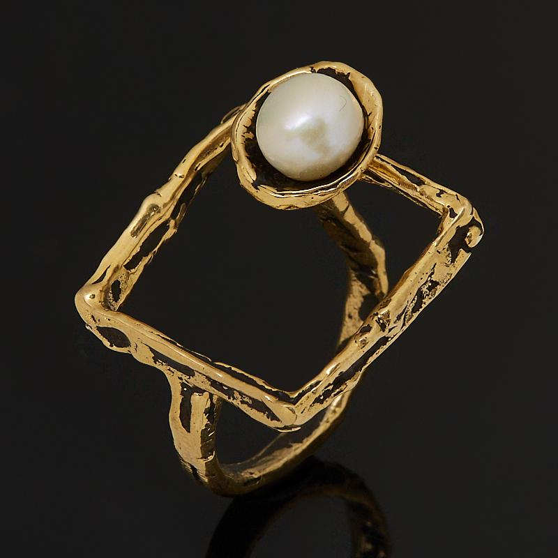 Кольцо жемчуг белый (бронза) (регулируемый) размер 17,5