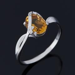 Кольцо цитрин Бразилия (серебро 925 пр. родир. бел.) огранка размер 18