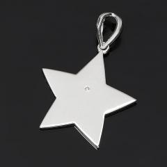 Кулон бриллиант Россия (серебро 925 пр. родир. бел.) звезда огранка