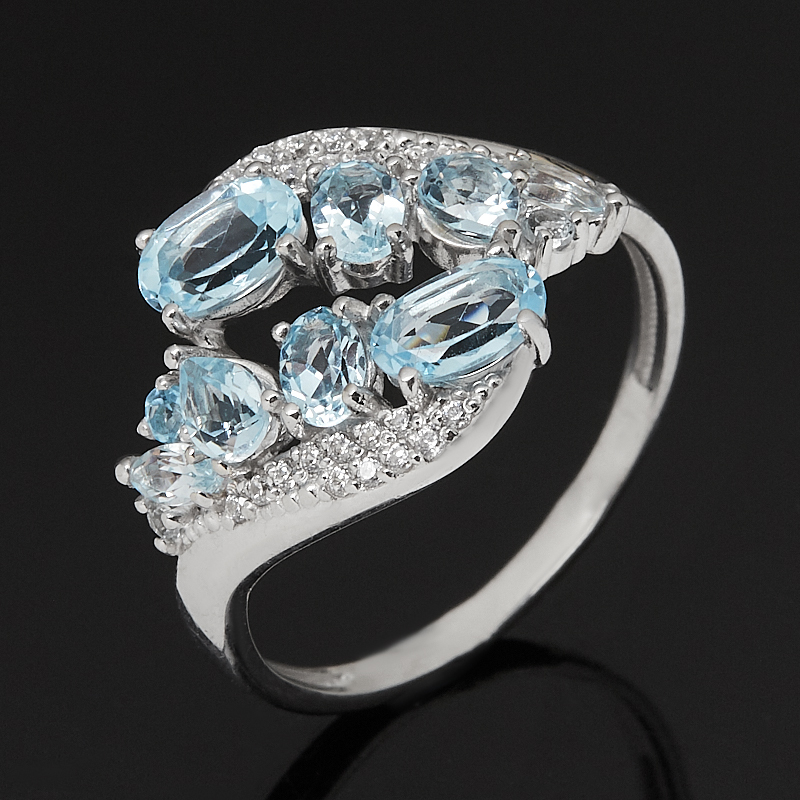 Кольцо топаз голубой Бразилия (серебро 925 пр. родир. бел.) огранка размер 18,5