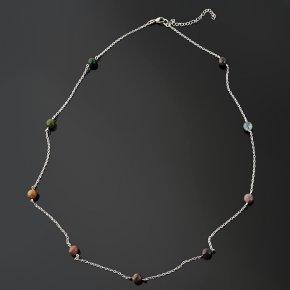 Бусы агат моховой Индия (биж. сплав, сталь хир.) (цепочка) 8 мм 75 см (+7 см)