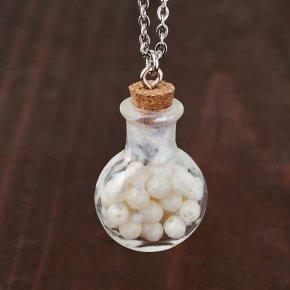 Кулон коралл белый Индонезия (стекло, сталь хир., биж. сплав) бутылочка огранка 3 см