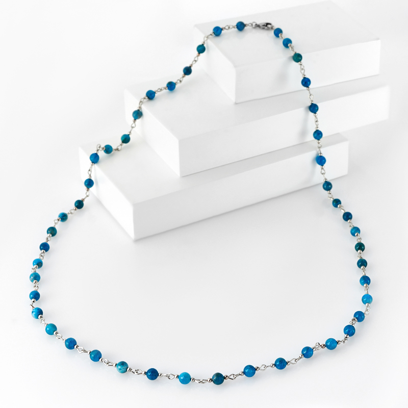 цена Бусы апатит синий (биж. сплав, сталь хир.) 6 мм 80 см онлайн в 2017 году