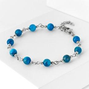 Браслет апатит синий Бразилия (биж. сплав, сталь хир.) 6 мм 16 см (+3 см)