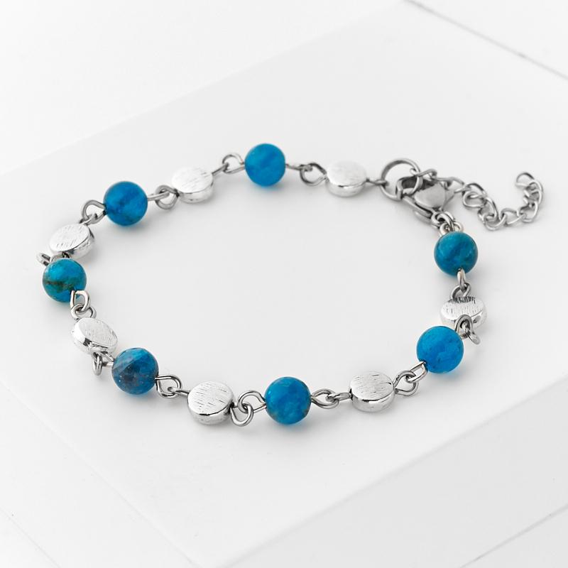 Браслет апатит синий (биж. сплав, сталь хир.) 6 мм 17 см (+3 см)
