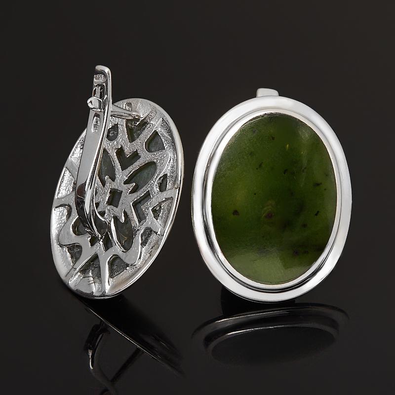 Серьги нефрит зеленый Россия (серебро 925 пр. родир. бел.)