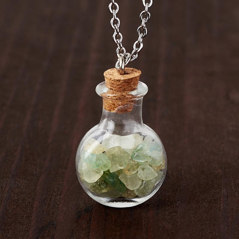 Кулон аквамарин Бразилия (биж. сплав, стекло) бутылочка 3 см