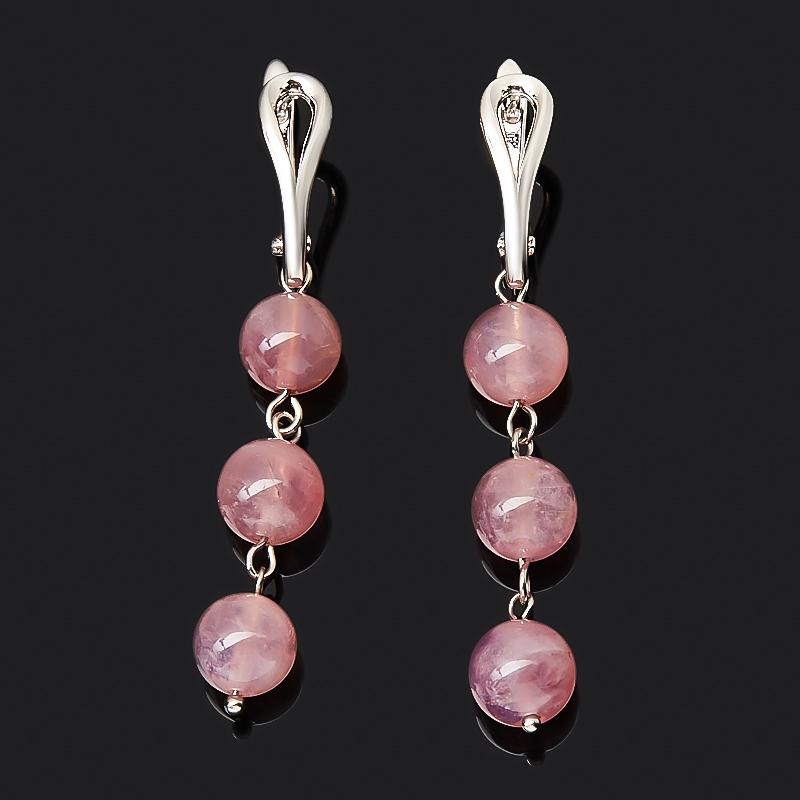 Серьги розовый кварц (биж. сплав родир. бел.)