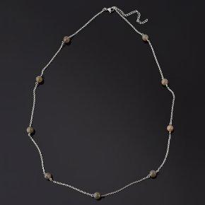 Бусы лабрадор Мадагаскар (биж. сплав, сталь хир.) (цепочка) длинные 8 мм 76 см (+7 см)