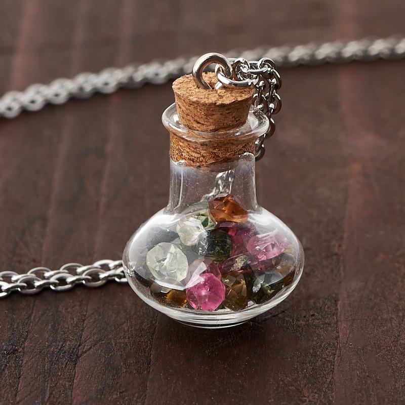 Кулон турмалин бутылочка огранка (стекло, сталь хир., биж. сплав) 2,5 см