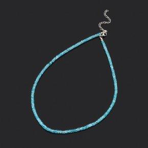 Бусы апатит синий Бразилия (биж. сплав, сталь хир.) огранка 4 мм 44 см (+7 см)