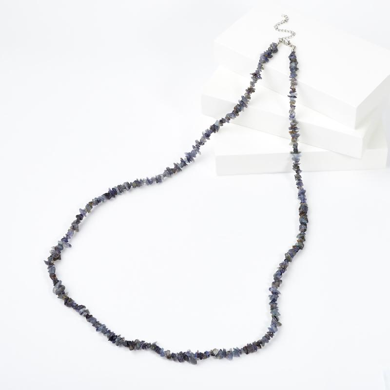 Бусы иолит (кордиерит) (биж. сплав) длинные 84 см (+7 см)