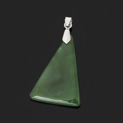 Кулон нефрит зеленый Россия (биж. сплав) треугольник 5 см