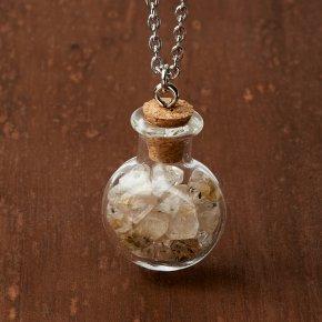 Кулон рутиловый кварц Бразилия (биж. сплав, сталь хир., стекло) бутылочка 3 см
