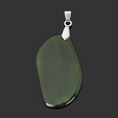 Кулон нефрит зеленый Россия (биж. сплав) 5,5 см