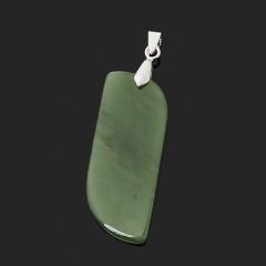 Кулон нефрит зеленый Россия (биж. сплав) 6 см