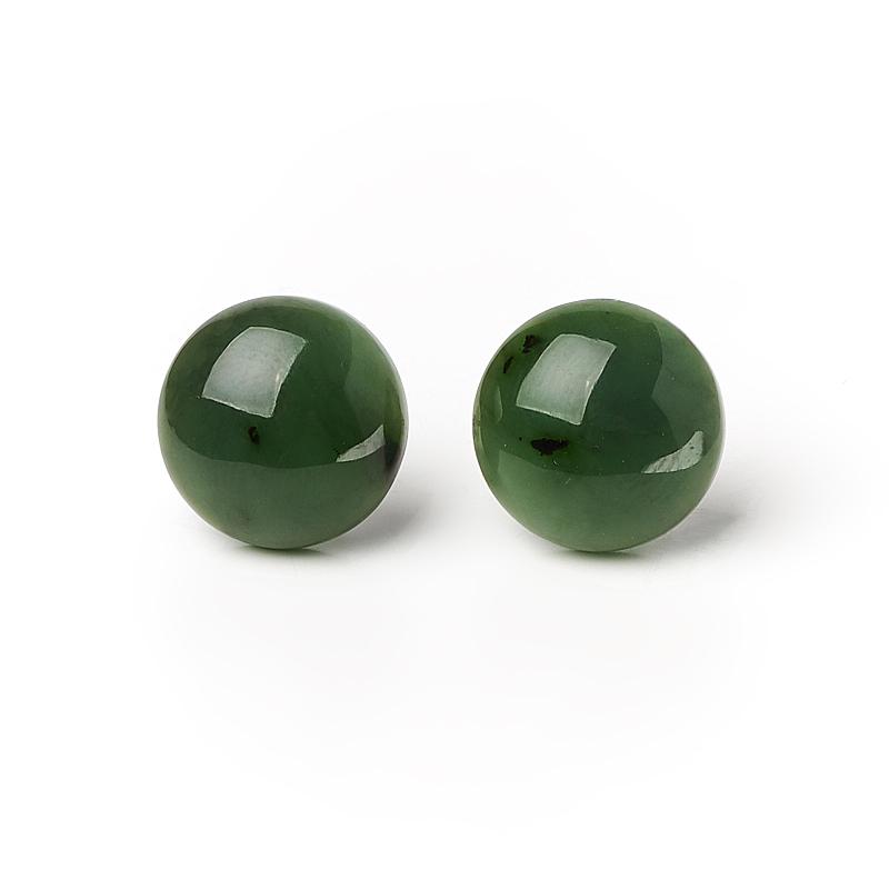 Серьги нефрит зеленый (биж. сплав) пуссеты
