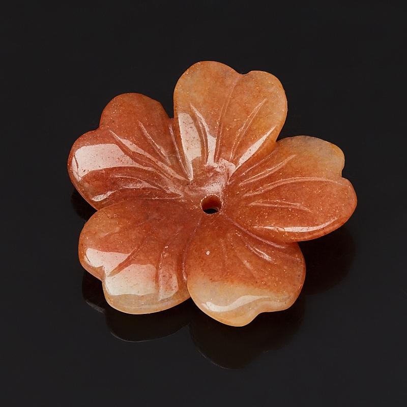 Пуговица цветок авантюрин персиковый 3 см