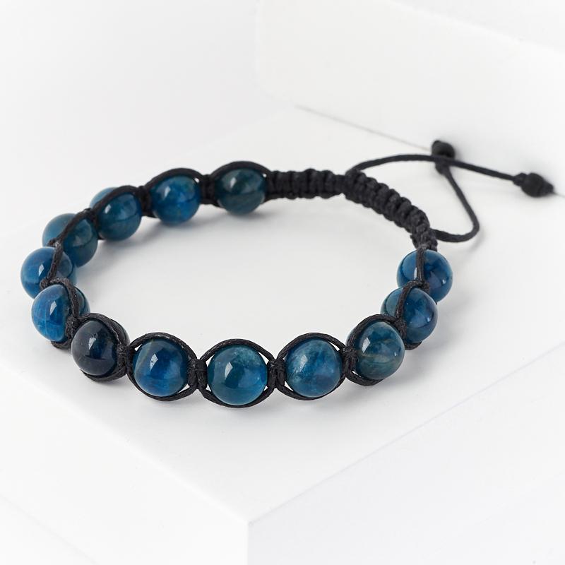 Браслет апатит синий (текстиль) шамбала 8 мм 16 см (регулируемый)