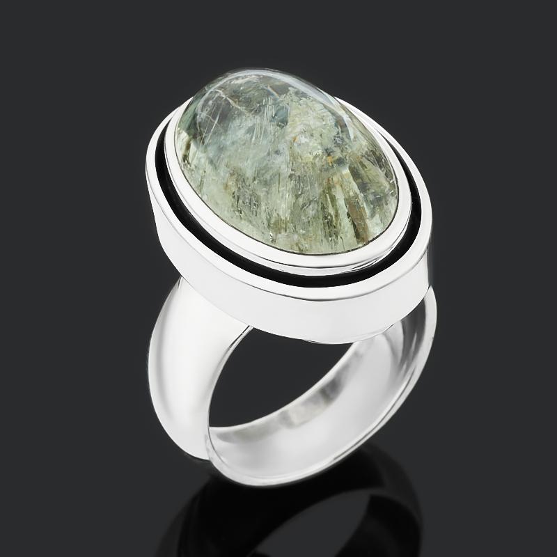 Кольцо берилл Россия (серебро 925 пр. оксидир.) размер 18