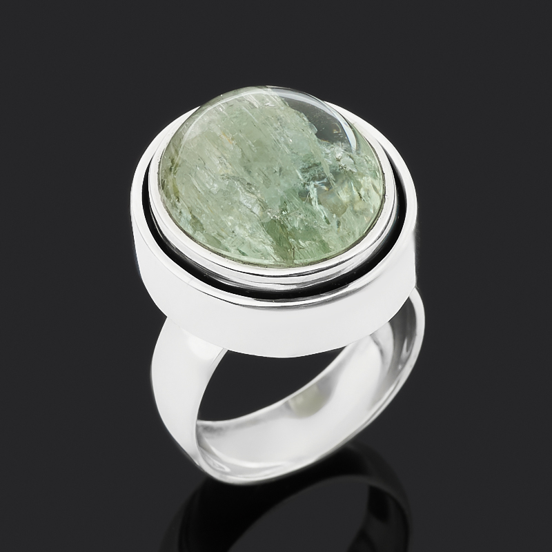 Кольцо берилл (серебро 925 пр. оксидир.) размер 18