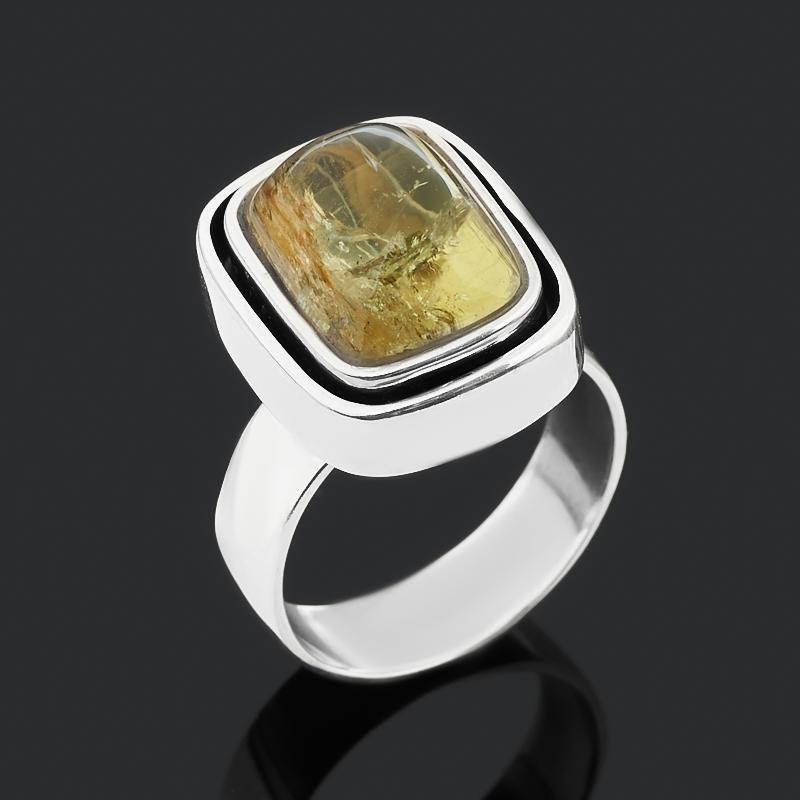 Кольцо берилл желтый (гелиодор) Россия (серебро 925 пр. оксидир.) размер 18,5