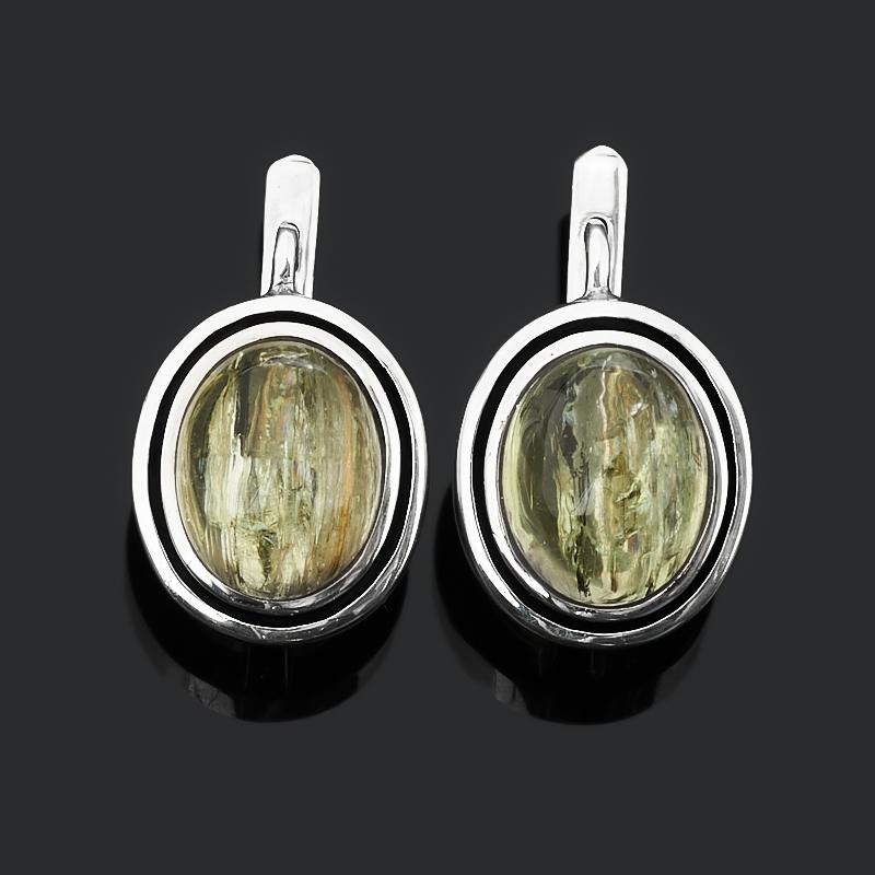 Серьги берилл (серебро 925 пр. оксидир.)