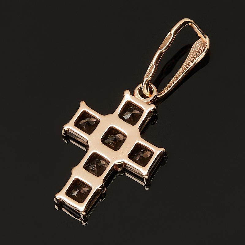 Кулон раухтопаз Бразилия (серебро 925 пр. позолота) крест огранка