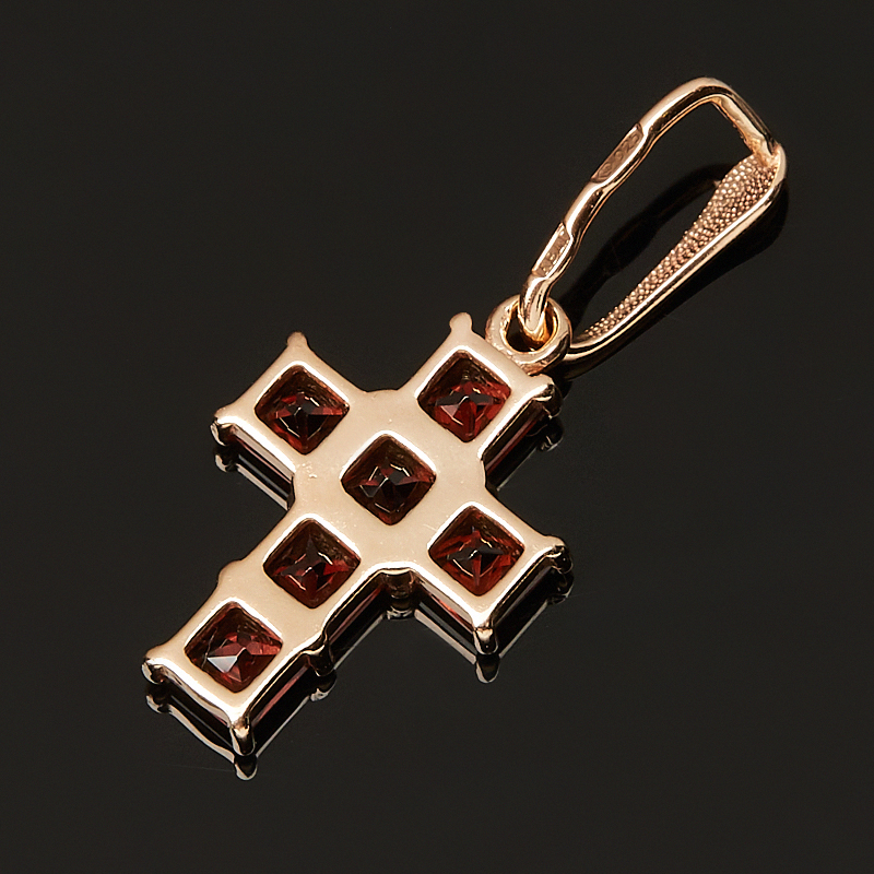 Кулон гранат альмандин Индия (серебро 925 пр. позолота) крест огранка