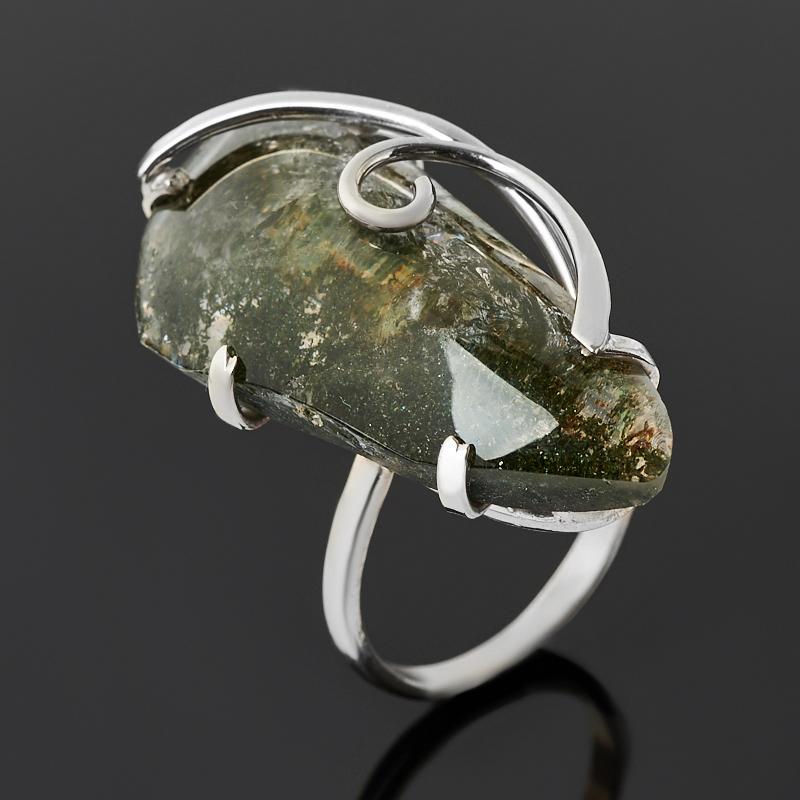 Кольцо кварц с хлоритом (нейзильбер) размер 19