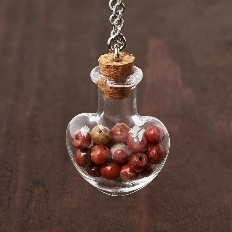 Кулон яшма красная (биж. сплав, сталь хир., стекло) бутылочка 3 см