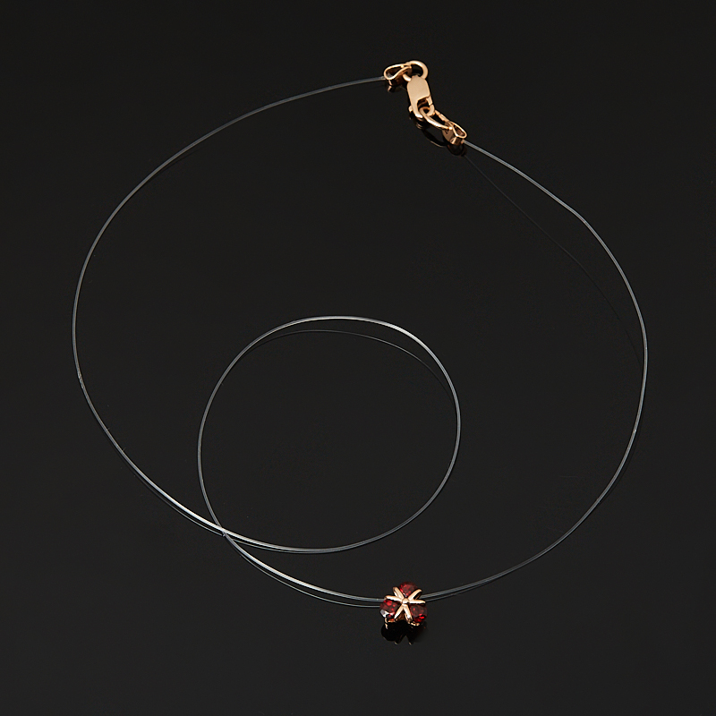 Кулон гранат альмандин Индия (серебро 925 пр. позолота, родир. бел.) огранка
