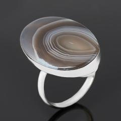 Кольцо агат серый Россия (нейзильбер) размер 17,5