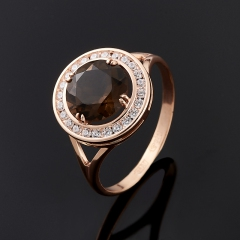 Кольцо раухтопаз Бразилия (серебро 925 пр. позолота) огранка размер 15,5