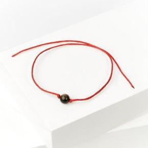 Браслет обсидиан золотистый Мексика красная нить Для раскрытия экстрасенсорных способностей 6 мм 28 см (регулируемый)