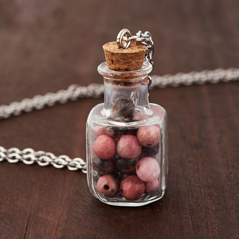 Кулон родонит (биж. сплав, сталь хир., стекло) бутылочка 3 см