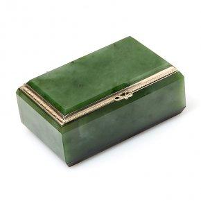 Шкатулка нефрит зеленый Россия (мельхиор) 9х5х4 см