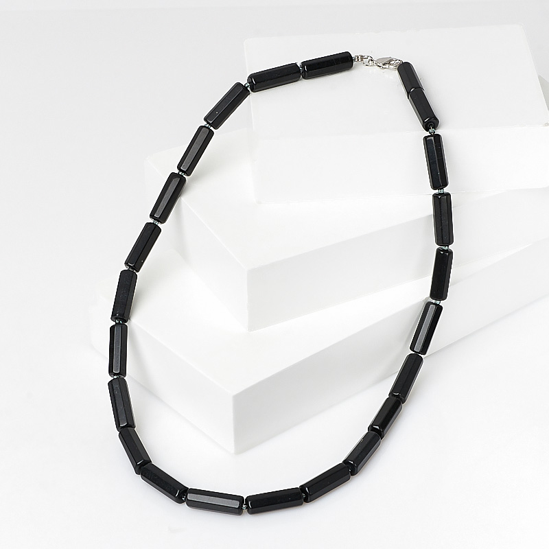 Бусы нефрит черный (биж. сплав) 46 см