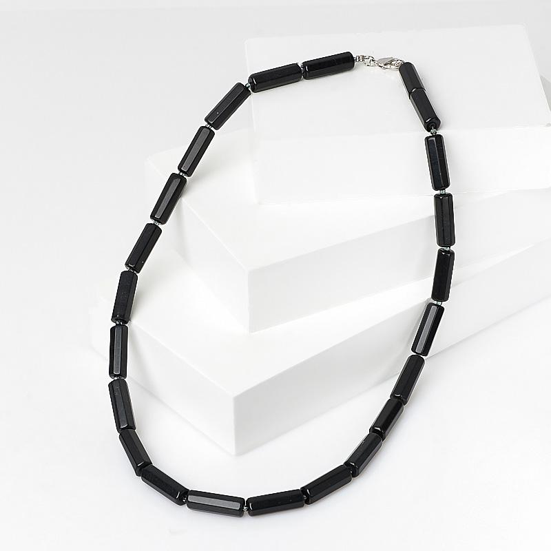 Бусы нефрит черный (биж. сплав) 44 см