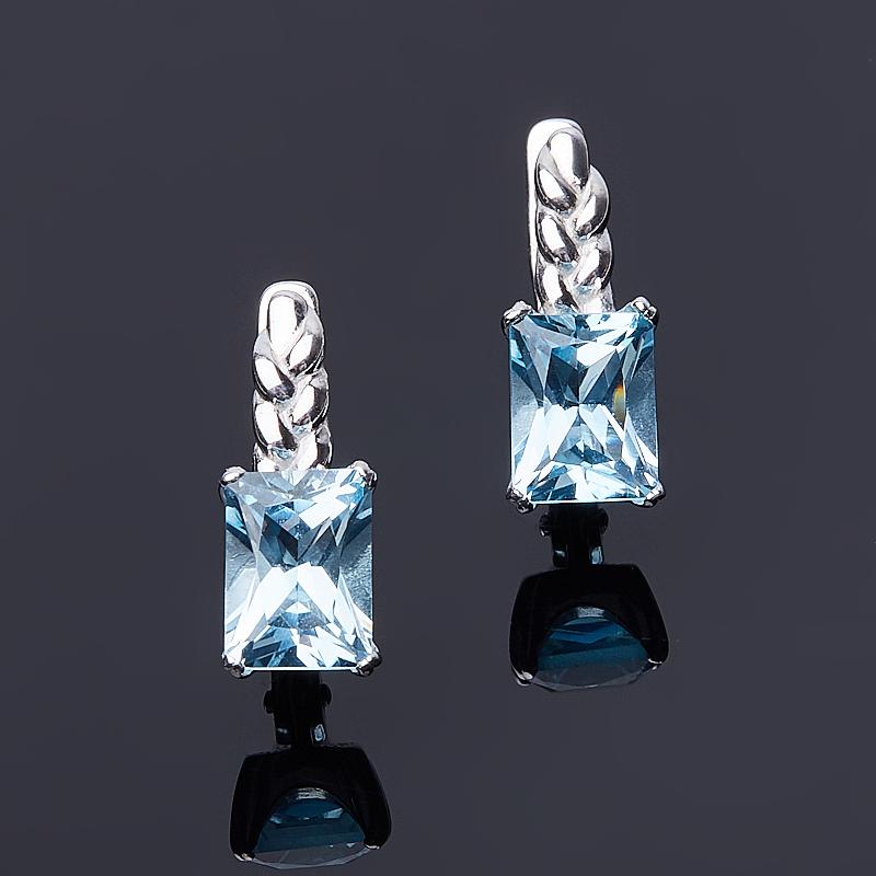 Серьги топаз голубой (серебро 925 пр. родир. бел.) огранка серьги коюз топаз серьги т748027861