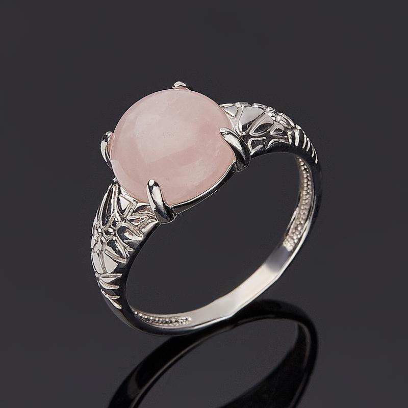 Кольцо розовый кварц (серебро 925 пр. родир. бел.) размер 16,5
