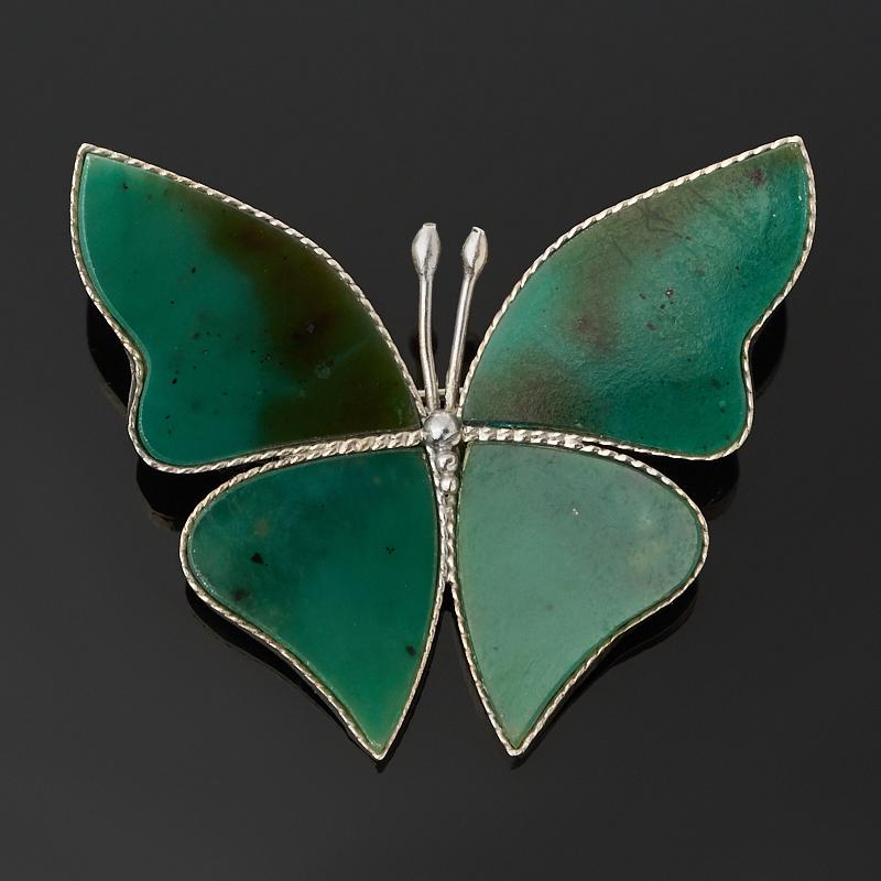 Брошь нефрит зеленый (мельхиор) шкатулка нефрит зеленый мельхиор 9 5х5 5х4 см