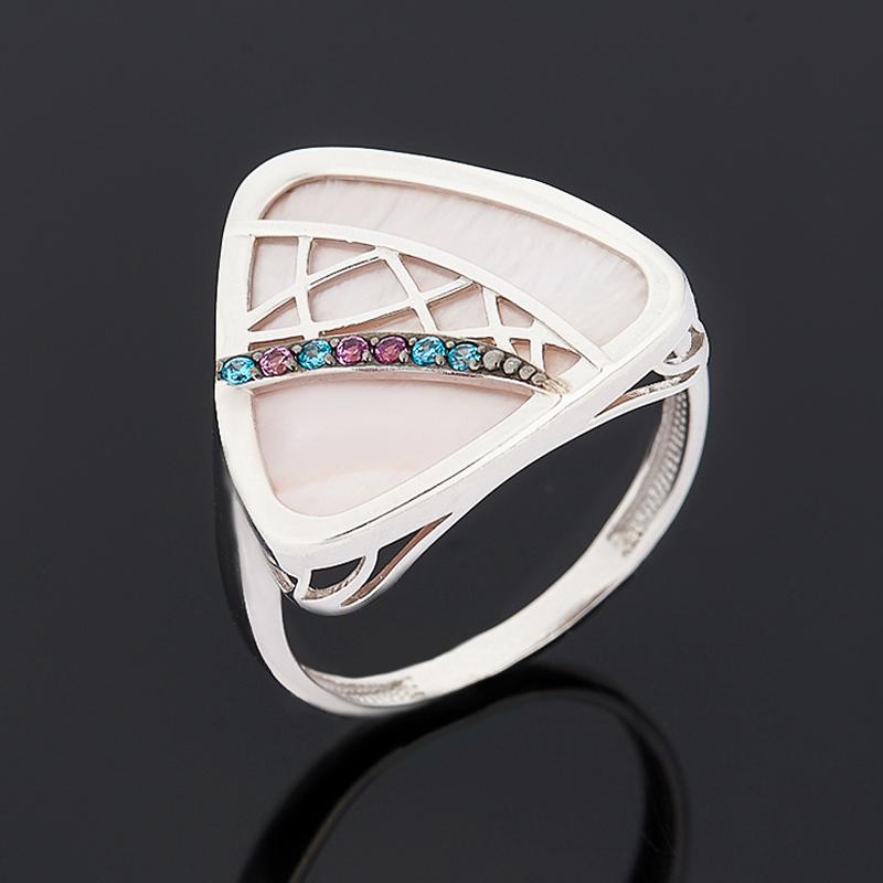 Кольцо перламутр розовый (серебро 925 пр. родир. бел., родир. черн.) размер 18 недорого