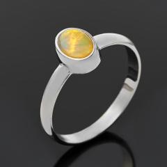 Кольцо опал благородный желтый Эфиопия (серебро 925 пр. родир. бел.) размер 18