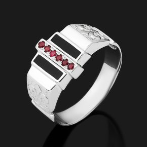 Кольцо рубин Мьянма (серебро 925 пр. родир. бел., эмаль) огранка размер 19