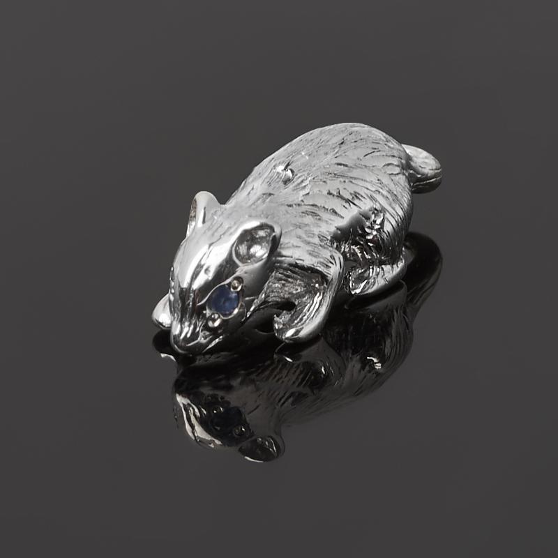 Денежный талисман сапфир Индия (серебро 925 пр. родир. бел.) (мышь кошельковая)