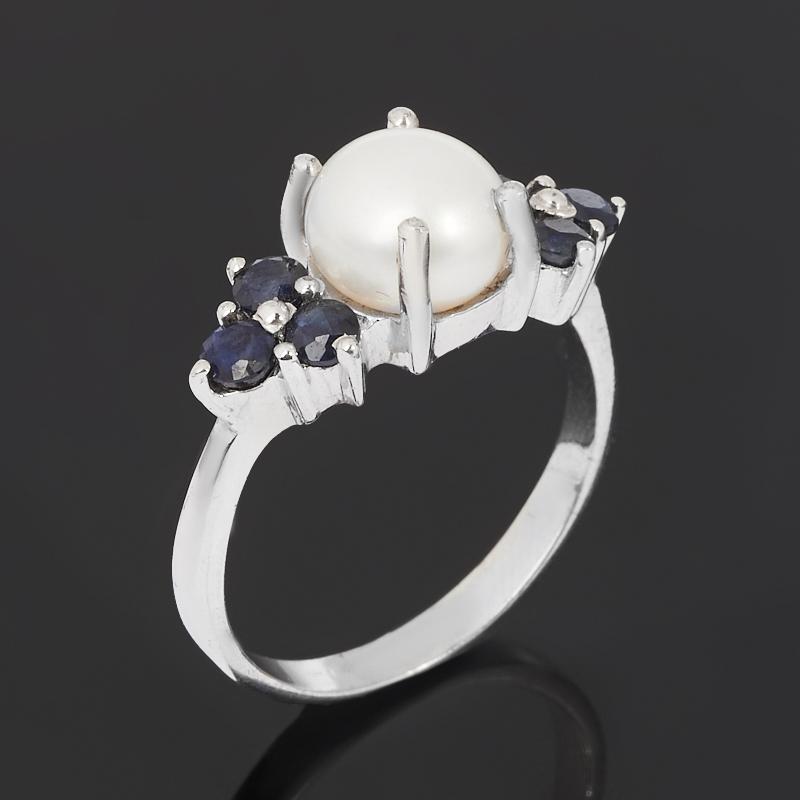 Кольцо микс жемчуг, сапфир черный (серебро 925 пр. родир. бел.) размер 17