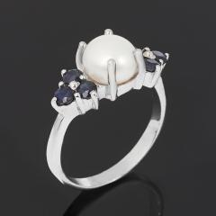 Кольцо микс жемчуг, сапфир черный (серебро 925 пр. родир. бел.) размер 18,5