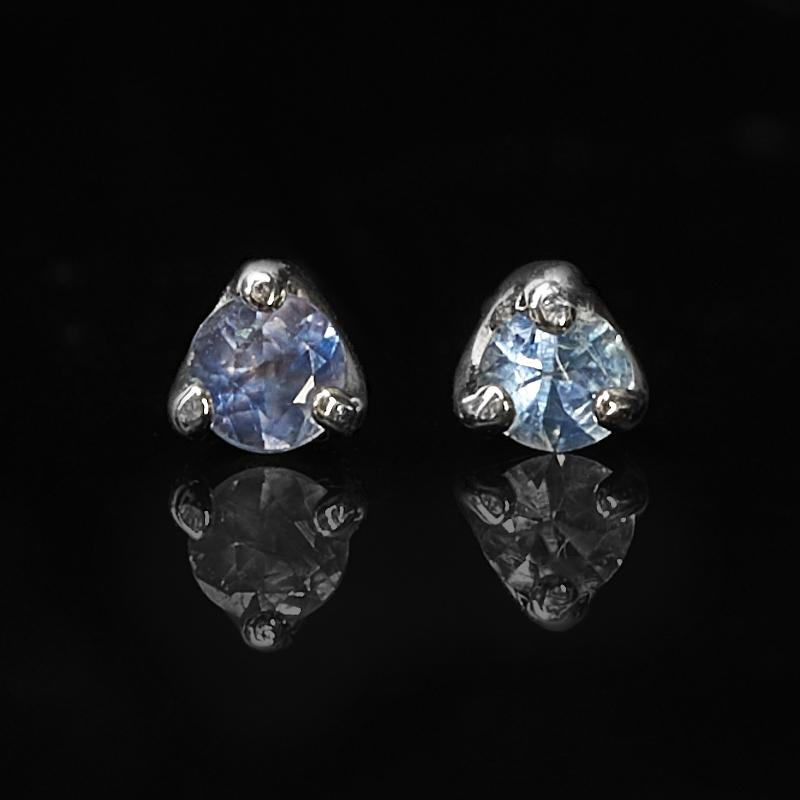 Серьги сапфир черный Индия (серебро 925 пр. родир. бел.) пуссеты огранка