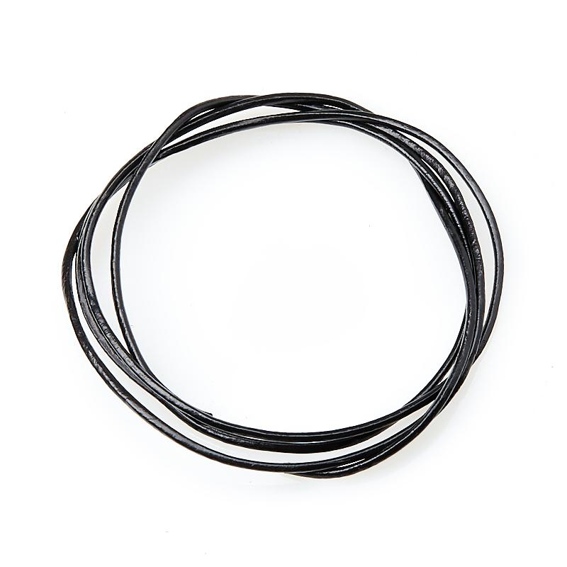 Шнурок (кожа натуральная) (черный) 70 см